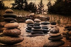 Cairn at Whitefish Point in the Upper Peninsula of Michigan. These stones were placed by a young girl on a cold day.