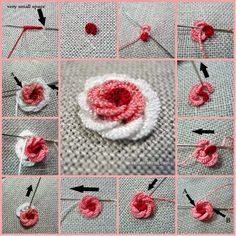 Make a Beautiful Rococo Rose Embroidery: How to Make Paper Christmas Tree Related posts: Hand Embroidery Net Stitch Design For Brazilian Embroidery Stitches, Embroidery Stitches Tutorial, Hand Embroidery Flowers, Flower Embroidery Designs, Silk Ribbon Embroidery, Crewel Embroidery, Hand Embroidery Patterns, Embroidery Techniques, Embroidery Kits