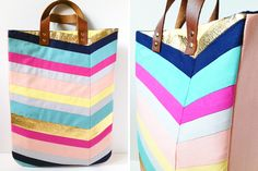 Art-Inspired Chevron Tote