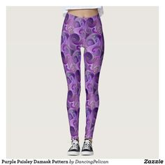 Purple Paisley Damask Pattern Leggings - Cool purple paisley leggings sold at DancingPelican on Zazzle.