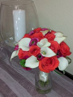 #coral in a hot orange tone #bride bouquet #Michaels Flower Girl
