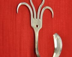Funky Fork Hook Style 003 by jjevensen on Etsy Fork Art, Spoon Art, Fork Crafts, Metal Crafts, Fork Jewelry, Silverware Jewelry, Creation Deco, Gabel, Welding Projects