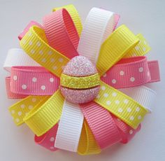 pink yellow and white easter egg bow