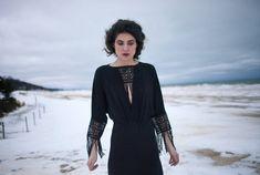 Black Crochet Fringe Sleeve Plunge Neck Ruched Waist by iconoclasp, $248.00