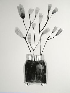ink well with stems Gouache, Illustrations, Still Life, Design Art, Glass Vase, Flora, Pin Up, My Arts, Colours