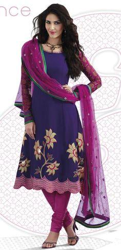 $66.36 Blue Faux Georgette Thread Work Anarkali Style Salwar Suit 23996