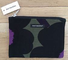 NWT $29 MARIMEKKO Keiju Unikko ~ Zippered Fabric Cosmetic Bag Pouch ~ Violet