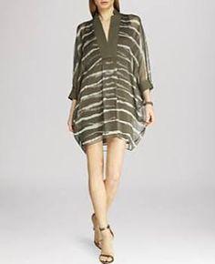 Halston Heritage Dress - Printed Caftan - Sage Dip Dye Stripe Print