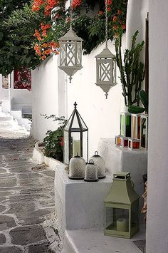 Mediterranean Living barefootstyling.com lovely hanging lanterns (for indoors) | It Could Happen
