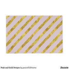 Pink and Gold Stripes Laminated Placemat