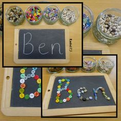 """Tracing names with loose parts from Rachel ("""",)"""