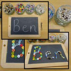 name writing reggio Kindergarten Names, Preschool Names, Kindergarten Literacy, Preschool Centers, Name Writing Activities, Language Activities, Literacy Activities, Teaching Writing, Joseph Activities