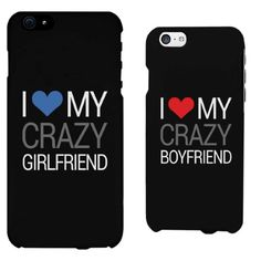 I Love My Crazy Boyfriend & Girlfriend - His and Her Matching Phone Cases for Couples, Blue