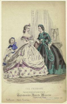 Fashion plate, 1861 France, Petit Courrier des Dames