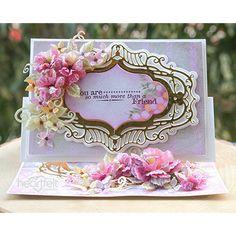 Heartfelt Creations - Elaborate Vellum Small Flower Bouquet, Flower Center, Floral Bouquets, Lilac Blossom, Oval Frame, Pink Accents, Heartfelt Creations, Felt Hearts, Greeting Cards Handmade