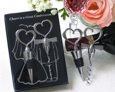 """""""Cheers to a Great Combination"""" Wine Set at Elegant Gift Gallery. We're your number one source for wine stopper favors and corkscrew favors. Wine wedding favors at discount prices! Wedding Favors And Gifts, Creative Wedding Favors, Beach Wedding Favors, Bridal Shower Favors, Party Wedding, Wedding Tokens, Baptism Favors, Wedding Set, Bride Gifts"""