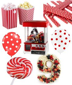 Kids' party with a red and white theme