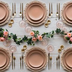 Tuesday morning sunrise. With our Verona Chargers in Whitewashed Terracotta + Custom Heath Ceramics in Sunrise + Gold Celeste Flatware + Bella 24k Gold Rimmed Stemless Glassware + 14k Gold Salt Cellars + Tiny Gold Spoons #cdp3x3 #