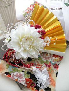 扇子ブーケ 和 PETIT GRASS 金扇子付 和装ブーケ 色打掛・新和装・内掛け和装ドレスに!!