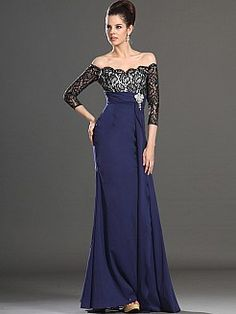Three Quarter Sleeve Off the Shoulder Lace Bodice Long Evening Dress - USD $138.79