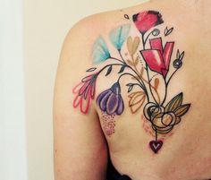 Abstract Flowers Tattoo by Bumpkin Tattoo | Tattoo No. 13173