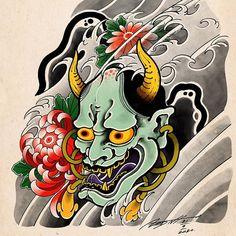 J Tattoo, Hanya Tattoo, Rock Tattoo, Chest Tattoo, Tattoo Drawings, Samurai Drawing, Samurai Tattoo, Chinese Mask, Oni Demon