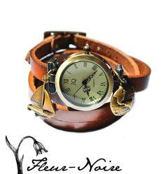 WickelUhr *ArmbandUhr*Leder  Weltreise von Fleur Noire-Schmuckdesign by Polarkind auf DaWanda.com Für 26,90 €