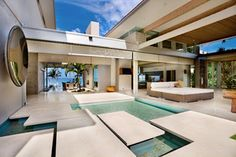 awesome natural Contemporary Tropical Home Design Tropical house, with modern and luxury style, located at maui, hawaii. Almost people want. Modern Tropical House, Tropical Beach Houses, Tropical House Design, Dream Home Design, Home Design Plans, Modern House Design, Style At Home, Patio Interior, Interior Design