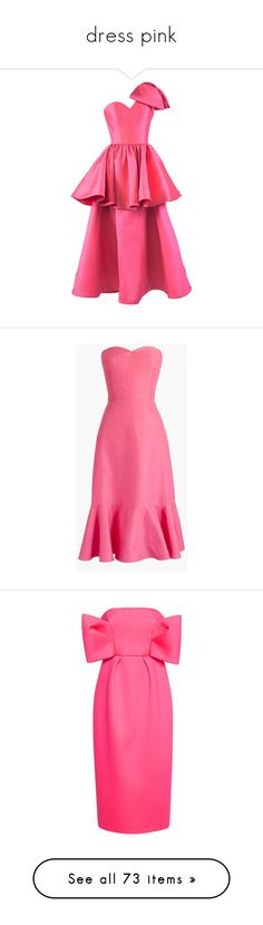 """""""dress pink"""" by besspredely-da on Polyvore featuring dresses, pink, pink one shoulder dress, silk dress, tiered cocktail dress, pink silk dress, one shoulder midi dress, fancy long dresses, pink corset и long dresses"""