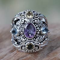Amethyst and blue topaz cocktail ring, 'Butterfly Queen' from @NOVICA, They help #artisans succeed worldwide.