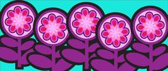 flower symbols for Illustrator purple vector designs 70s seventies