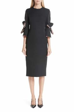 Roksanda Bow Sleeve Crepe Sheath Dress Work Dresses For Women 87b19b387