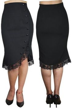 Black Pencil Skirt with Lace Frill Ladies Gothic Clothing Pencil Skirt Casual, Pencil Skirts, Vetement Fashion, Gothic Outfits, Girly Outfits, African Fashion, Plus Size Fashion, Dress Skirt, Sexy Skirt