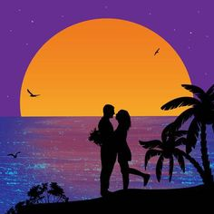 Illustration of Romantic couple on the beach in beautiful seascape at sunset near ocean illustration vector art, clipart and stock vectors. Romantic Drawing, Romantic Paintings, Cute Paintings, Simple Acrylic Paintings, Galaxy Painting, Love Painting, Couple Painting, Ocean Illustration, Beach Drawing