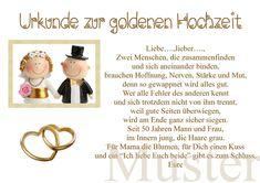 Urkunde zur goldene Hochzeit 50. Hochzeitstag Gold Brautpaar in DIN A4