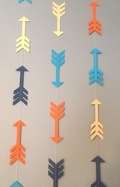 Arrow Garland, Orange, Navy, Gold and Turquoise This fun arrow garland is perfect for a tribal, bohe Wild One Birthday Party, First Birthday Parties, First Birthdays, Tribal Baby Shower, Baby Boy Shower, Baby Showers, Marine Gold, Bohemian Baby Nurseries, Tribal Theme