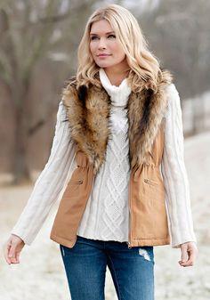 Tobacco Military-Style Faux Fur-Lined Anorak Vest - Donna Salyers' Fabulous Furs #fauxfur #FabulousFurs #DonnaSalyers #crueltyfree #fallfashion #winterfashion #ifakeit #fakefur #furcoat #furjacket #faux #brown #tan #donnaspicks #winter2016