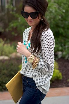 turquoise necklace, polka dots.