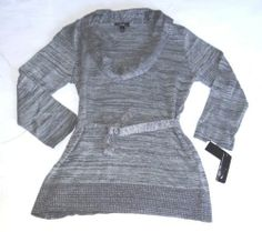 NWT AGB COWL NECK SHIMMER SWEATER BELT 3/4 SLEEVES