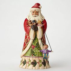 Jim Shore for Enesco Heartwood Creek Santa Holding Toys Figurine, With his arms full of toys and a colorful marionette dangling at his side, this delightful St Nick captures the magic of the season with heartfelt gifts from the artistry of Jim shore. Jim Shore Christmas, Father Christmas, Christmas Carol, Christmas Tree, Christmas Images, Christmas Stuff, Vintage Christmas, Christmas Ideas, Christmas Ornaments