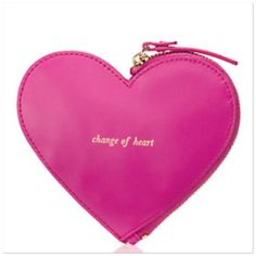 """NWT Kate Spade pink leather heart coin purse Cute leather heart coin bag by Kate Spade for stashing your pennies, your credit cards, your ids, your secret love notes...  MATERIAL smooth leather with trim capital kate jacquard lining FEATURES zip around coin purse printed """"change of heart"""" DETAILS 4.2""""h x 4.9""""w kate spade Bags"""