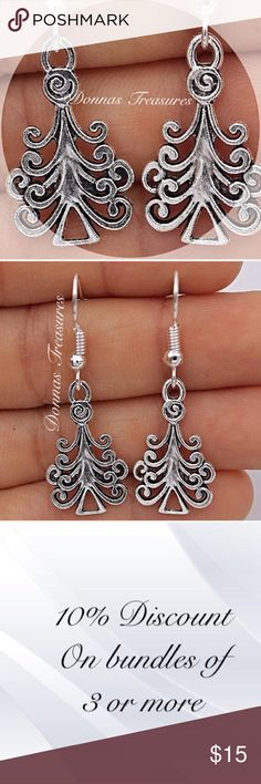 """🎃Silver Tree Earrings These earrings are made of silver plating over nickel free alloy. They measure 1.5"""" from top to bottom & 1/2"""" from side to side. A beautiful statement piece any time of the year! #1042 Jewelry Earrings"""