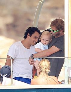 (R-L) Andrea Casiraghi with his son Sacha Casiraghi and Alex Dellal during holidays in the Spanish Island of Ibiza in July 2014