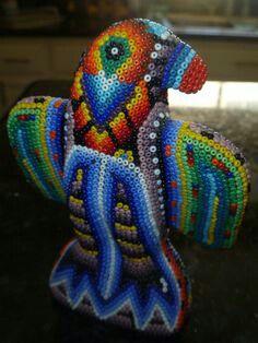 Hand beaded parrot