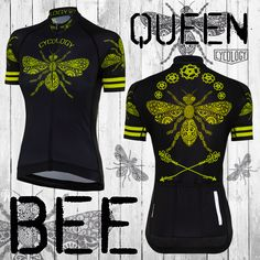Cycology Clothing is a creative brand inspired by our passion (some say obsession) with cycling. Our cycling clothing is made of the highest quality fabrics. Women's Cycling Jersey, Cycling Jerseys, Cycling Bikes, Bicycle Parts, Cycling Outfit, Queen Bees, Zippers, Color Combinations, Hand Drawn