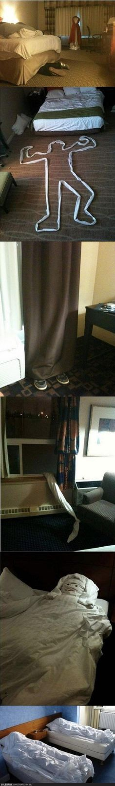 How to scare the shit out of housekeeping.  I am totally do this!