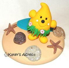 Hawaiian HULA Dancing PARKER Polymer Clay Figurine by KatersAcres