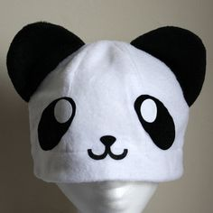 cute panda Fleece Hat Anime Manga Cosplay Rave by AthenasWink, $20.00