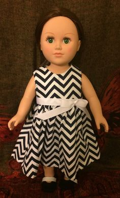 American Girl doll dress. Black and white zig zag stripe design long flowing dress with white ribbon accent.