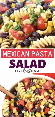 A healthy pasta salad recipe perfect as a side dish for Thanksgiving! This Fiesta Pasta Salad is zesty, flavorful, and loaded with corn, black beans, . Healthy Pasta Salad, Easy Pasta Salad, Healthy Pastas, Pasta Salad Recipes, Savory Salads, Shrimp Recipes, Thanksgiving Vegetable Sides, Thanksgiving Dinner Recipes, Thanksgiving Side Dishes